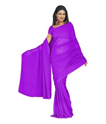 Medium purlpe plain georgette saree with blouse
