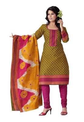 Cotton Bazaar Casual Wear Olive Green , Yellow & Pink Colored Cotton Dress Material