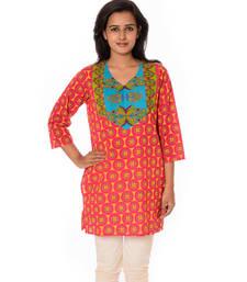 Buy Red printed cotton straight kurti kurtas-and-kurti online