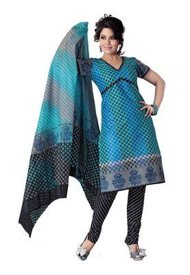 Cotton Bazaar Casual Wear Blue & Gray Colored Cotton Dress Material