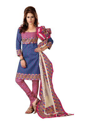 Cotton Bazaar Casual Wear Blue & Pink Colored Cambric Cotton Salwar Kameez