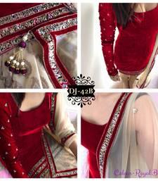 Buy Red embroidered velvet semi stitched salwar with dupatta wedding-salwar-kameez online