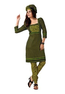 Cotton Bazaar Casual Wear Black & Olive Colored Cambric Cotton Salwar Kameez