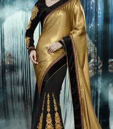 Buy Gold and Black embroidered georgette saree with blouse party-wear-saree online