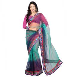 Buy Blue Border Worked Net Saree With Blouse net-saree online