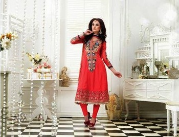 PYAASI RED WITH AWESOME JHALAR EMBROIDERY ANARKALI SUIT