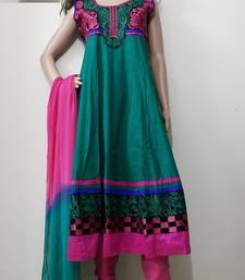 Buy Green cotton cotton salwar with dupatta plus-size-salwar online