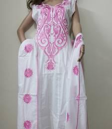 Buy White cotton cotton salwar with dupatta plus-size-salwar online