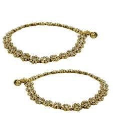 Buy Floral Golden Beige Polki Stones Payal Anklet Jewellery for Women - Orniza anklet online