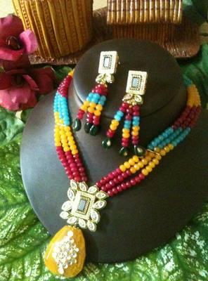multi colour kundan and stone piece