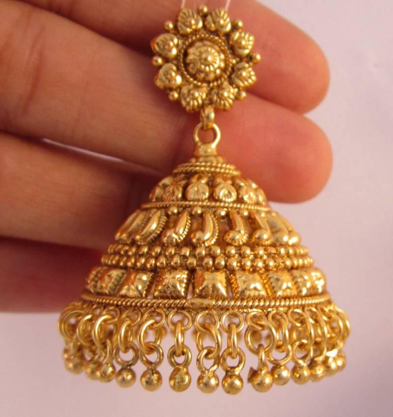 Earrings Jhumka Chandelier Gold Plated Temple Jewellery