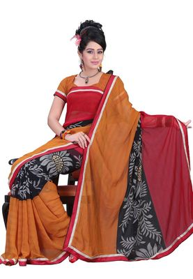 Fabdeal Mustered & Red Colored Marble Chiffon Saree With Unstiched Blouse