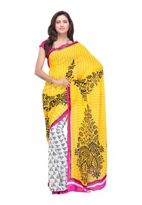 Fabdeal Yellow & White Colored Faux Georgette Saree With Unstiched Blouse