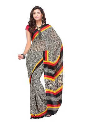 Fabdeal Black & Off White Colored Apple Georgette Saree With Unstiched Blouse