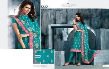 Hot Latest Green & Pink Designer  Anarkali Suit