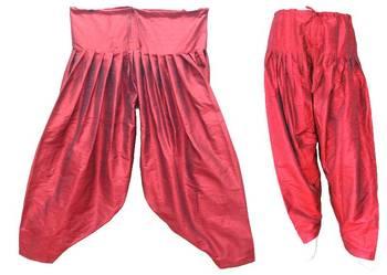 Patiala Salwar Bottom Pants - Loose Pants - Semi Raw Silk Pants - Pleated Pants 902766