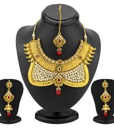 Buy Ravishing Gold Plated AD Antique Choker Set necklace-set online