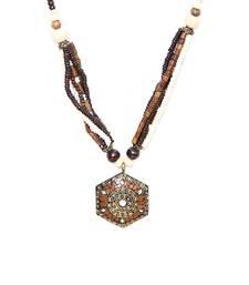 Buy Brown hexa tibetean necklace Necklace online