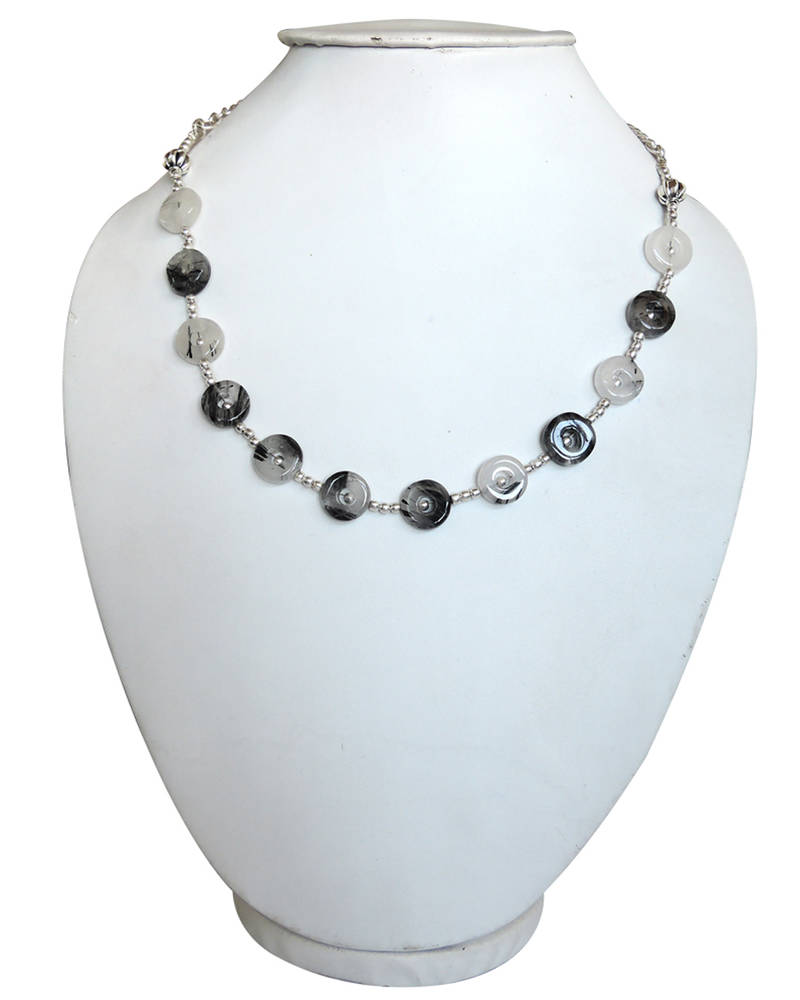 buy black meets white 18 rutilated quartz beads necklace online. Black Bedroom Furniture Sets. Home Design Ideas