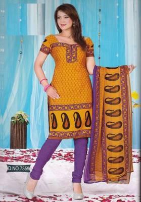 Dress Material Crepe Unstitched Elegant Salwar Kameez Suit D.No 7359