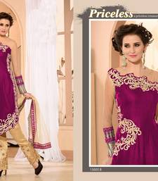 Buy Pink Pure Georgette Embroidered semi_stitched salwar with dupatta party-wear-salwar-kameez online