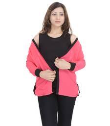 Buy Peach Chiffon Women Shirt with Black Inner girls-jackets-coat online