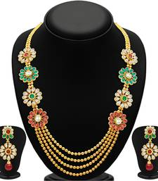 Buy Beguiling Four Strings Gold Plated Necklace Set necklace-set online