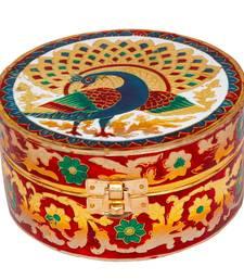 Buy Meenakari Art Work White Metal Round Jewellery Box jewellery-box online