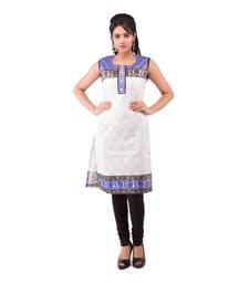 Buy White and Royal Blue Chanderi plain kurti plus-size-kurtis online