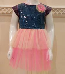 Buy pink and purple georgettee and sequin plain kids-sarees kids-frock online
