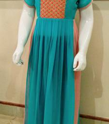 Buy blue and peach geogettee embroidered kids-sarees kids-frock online