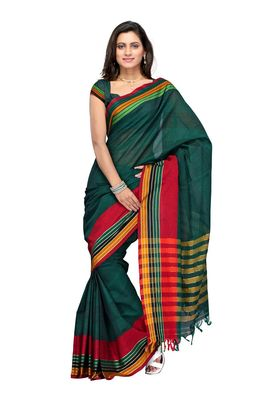 Cotton Bazaar Green & Red Pure Cotton Saree