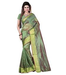 Buy Green printed cotton_poly saree with blouse birthday-gift online
