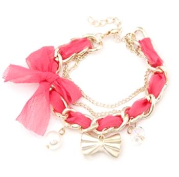 Golden bowknot bracelet-Pink