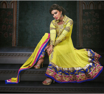 Exquisite Yellow Net & Senton Long Length Anarkali Salwar Kameez