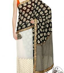Buy Fabron Black plain Georgette saree wtih blouse wedding-saree online