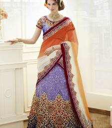 Buy multicolor Brocade  and Satin and Net Embroidered and Stone Work unstitched lehenga-choli lehenga-choli online