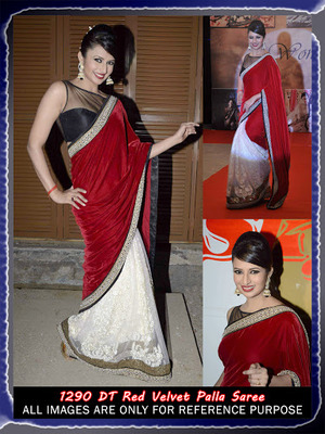 Red Velvet Pala saree