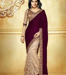 Buy magenta  and  cream plain Velvet saree with blouse party-wear-saree online