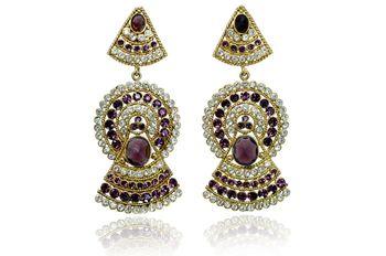 Brass Metal alloy Crystal earrings jewellery