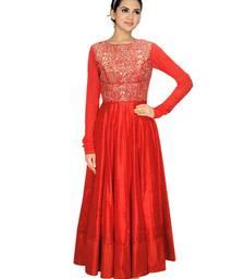 Buy red silk embroidered semi_stitched salwar with dupatta party-wear-salwar-kameez online
