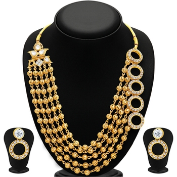 Dazzling Gold Plated Necklace Set For Women