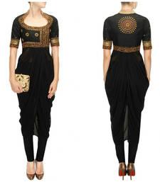 Buy Black designer mirror work & dori work dhoti style kurta for women diwali-kurti online