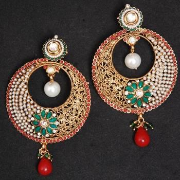 White Golden Color Copper Earrings