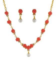 Buy Orange Coral Rhodium necklace-sets fashion-deal online