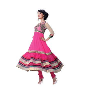 Hypnotex Georgette and Net Pink Color Designer Dress Material Model_Dobara1705A