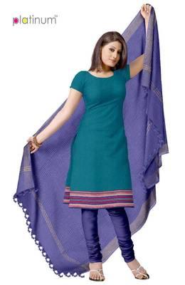 Turquoise & Blue Fancy Cotton Suit Material PS047