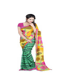 Buy Green and Yellow printed printed silk saree with blouse party-wear-saree online