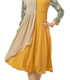 Buy Charismatic Beige And Yellow Ocur Color Georgette Fabric Kurti heavy-work-kurti online