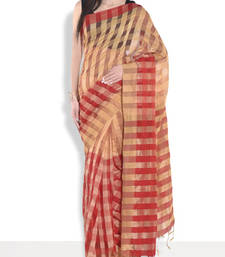 Buy Beige hand_woven handloom saree with blouse handloom-saree online